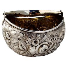 Repousse Floral Basket Swing Handle Frank Whiting Sterling Silver 1900