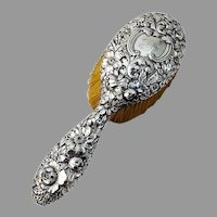 Repousse Floral Hair Brush Gorham Sterling Silver Mono H