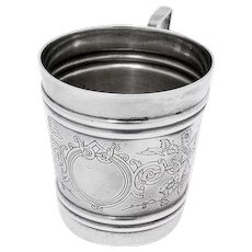 Russian Engraved Floral Cup 84 Standard Silver 1892 Moscow
