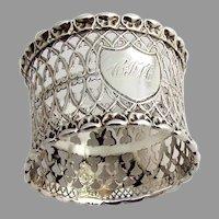 Openwork Napkin Ring Shell Border Coin Silver 1880 Mono CJM