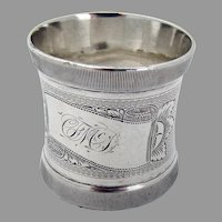 Milled Edge Engine Turned Napkin Ring Coin Silver 1870 Mono FMcD