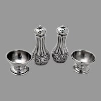 Ornate Scroll Open Salt Pepper Shakers Sets Duhme Sterling Silver