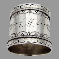 Bright Cut Engraved Napkin Ring Coin Silver 1860s Mono AMF