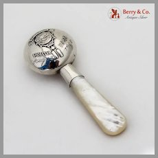 Birth Record Baby Rattle MOP Handle Sterling Silver Mono Aug 13 1928