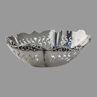 Cutwork Bon Bon Bowl Foliate Rim Wallace Sterling Silver Mono FTC