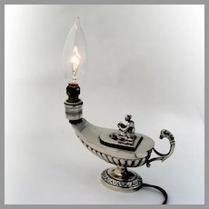 Figural Electric Boudoir Lamp Oil Lamp Form 800 Silver Italy 1960