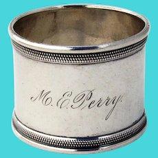 Beaded Border Napkin Ring Gorham Coin Silver 1865 Mono Perry