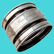 Engraved Shaped Napkin Ring Coin Silver 1865 Mono Josephine