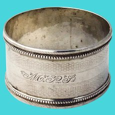 Beaded Engine Turned Napkin Ring Coin Silver Mono MPS