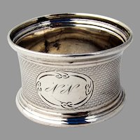 Engine Turned Napkin Ring Flared Rims Coin Silver Mono NN