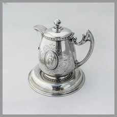 Engraved Medallion Creamer Underplate Set Smyth Silverplate