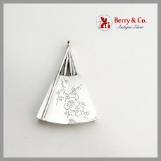 Engraved Floral Fan Form Salt Shaker Japanese 950 Sterling Silver