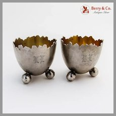 Eggshell Form Open Salts Pair Ball Feet Finnish 813 Silver 1932 Mono LL