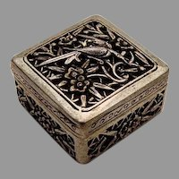 Openwork Floral Bird Pill Box Square Form Chinese Export Silver