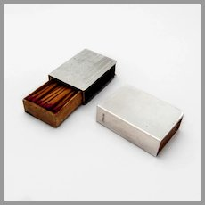 Engine Turned Match Box Covers Pair Sterling Silver