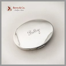 Mary Dunhill Oval Form Compact Sterling Silver 1940 Mono Betty
