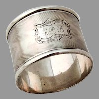 Engine Turned Napkin Ring Applied Rims Coin Silver Mono RPB
