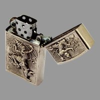 Thai Figural Repousse Lighter Sterling Silver 1960