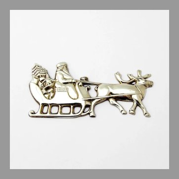 Santa In The Sleigh Christmas Ornament Gorham Sterling Silver 1978