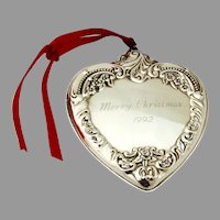 Grande Baroque Heart Christmas Ornament Wallace Sterling Silver 1992