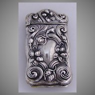 Match Safe Vesta Baroque Floral Scroll Violets Gilbert 1900 Sterling Silver