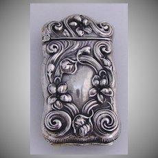 Match Safe Vesta Baroque Floral Scroll Violets Gilbert 1900 Sterling Silver