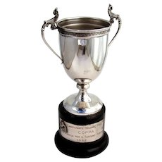 Italian Polo Trophy Goblet Pedestal Base Enzo Chilleri 800 Silver 1968