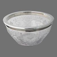 Acid Etched Glass Bowl Hawkes Sterling Silver Rim