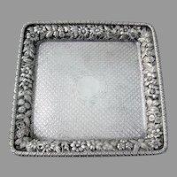 Square Tray Repousse Border Jacobi Jenkins Sterling Silver