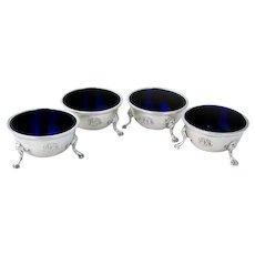 4 Open Salt Dishes Set Cobalt Glass Sterling Silver Mono DDF