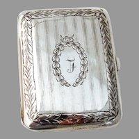 Cigarette Case Wreath Motifs James Blake Sterling Silver Mono L