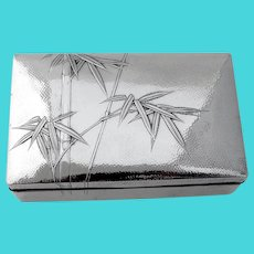 Japanese Bamboo Motif Box Hammered Sterling Silver