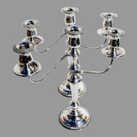 Gadroon Three Light Candelabrum Pair International Sterling Silver