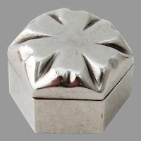 Hexagonal Form Pill Box Sterling Silver Mexico