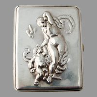 Small Cigarette Joint Case Figural Chased Design Sterling Silver