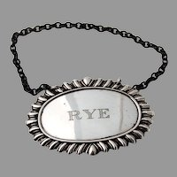 Rye Bottle Tag Label Gadroon Border Sterling Silver