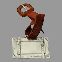 Case Form Luggage Tag Webster Sterling Silver Mono Marcia Hurlbert