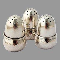 Acorn Form Salt Shakers Set Scandinavian 830 Silver