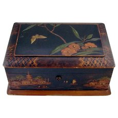 Japanesque Style Jewelry Box Painted Wood Blue Satin Liner 1900