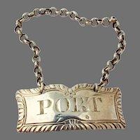 English Port Bottle Tag Label Margaret Binley Sterling Silver 1770
