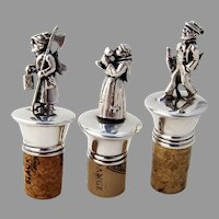 Figural Bottle Stoppers 3 Characters Silverplate
