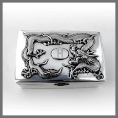Chinese Export Dragon Box 90 Silver Mono H