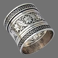 Embossed Chased Design Napkin Ring Coin Silver No Mono