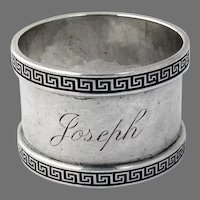 Greek Key Design Napkin Ring Sterling Silver Mono Joseph