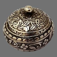 Round Pill Box Embossed Floral Designs Sterling Silver