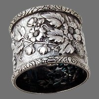 Tiffany Repousse  Floral Napkin Ring Sterling Silver