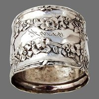 Ornate Floral Napkin Ring Webster Sterling Silver Mono Marie