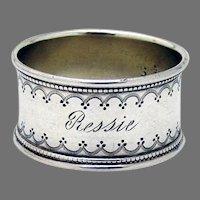 Ornate Border Napkin Ring Sterling Silver Mono Ressie