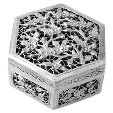 Chinese Export Cricket Box Cherry Blossom Designs Silverplate