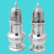 English Salt Pepper Shakers Pair Sterling Silver London 1925